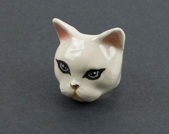 Lady Cat Ring, Domestic Cat, White Painted, Animal Ring, Women's Jewelry