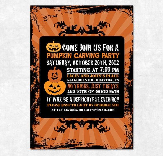 Items Similar To Printable Pumpkin Halloween Invitation