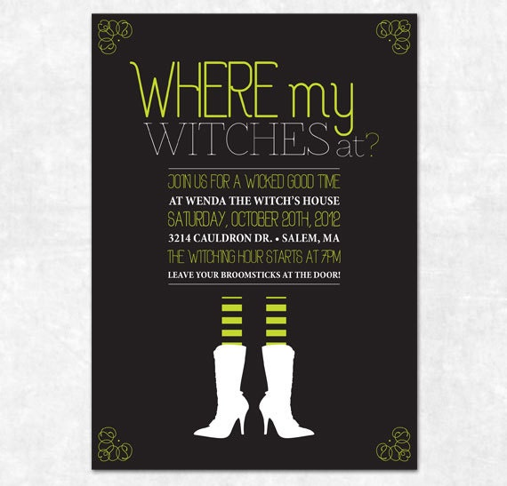 The Witch Themed Party: Items Similar To Printable Halloween Invitation