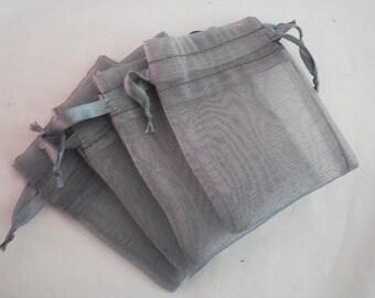 100 4x6 light Gray Organza bags, 4x 6 inch light grey organza bag