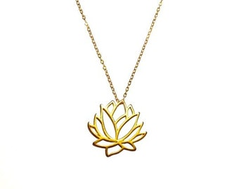 14k Gold Filled Lotus Necklace, Gold Necklace, Chain Necklace