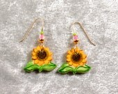 Handpainted ceramic sunflower earrings w 12K gold filled ear wires