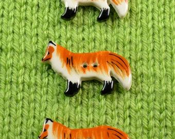 Handpainted ceramic fox buttons, x 3
