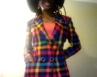 Vintage Rainbow Checkered Boyfriend Blazer