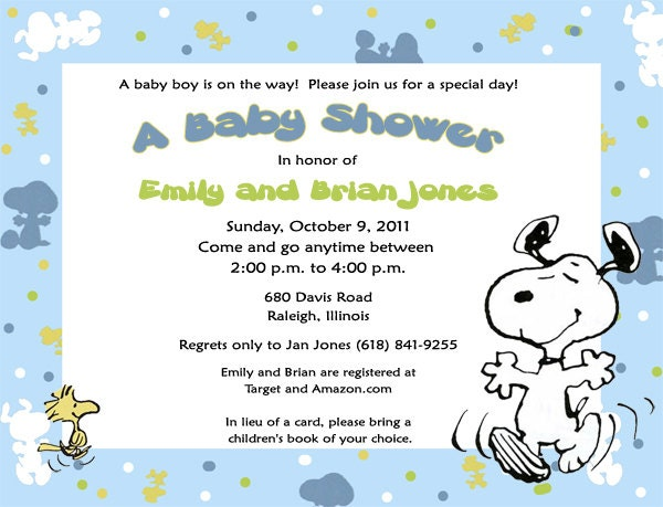 items similar to snoopy baby snoopy invitations many styles on etsy