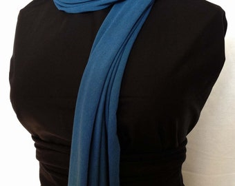 bamboo and organic cotton scarf-Denim (teal)