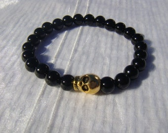Best Seller-BLACK ONYX BEADS Stretch Bracelet for Men, with Gold Skull Charm, Very cute- As seen on Hollywood Actors Inspired bracelet