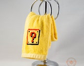 Super Mario Hand Towel - 8 Bit Question Block - Video Game Embroidered Bathroom Towel or Kitchen Decor