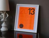 SALE: neon orange Calendar poster 2013