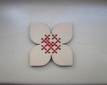 Red Flower.. wooden embroidered brooch