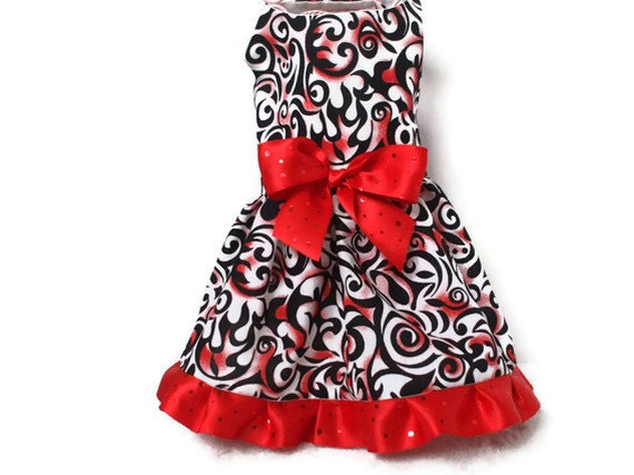 Dog Dress, Red/Black Flame Fabric Size Small