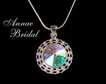 "Crystal Aurora Borealis pendant necklace, Bridal, wedding, Swarovski, ""Radiant"" necklace"