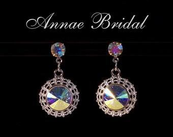 "Crystal Aurora Borealis earrings in silver setting, Bridal, wedding, Swarovski, ""Radiant"" earrings"