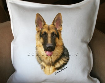 German Shepherd - 20 x 20 Cotton Pillow Cover - Name can be personalized