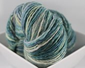 Balanced Single Ply - 320 yds - Falkland Wool - Turquoise Blue Lavender Soft Yellow - Hand Spun Yarn