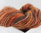 Orange Gold Brown Blue Grey - 139 yds - Masham Wool - Hand Spun Yarn