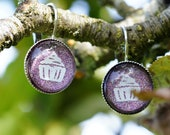 Purple and White Cupcake Hand Painted and Stamped Earrings, Glass and Silver Metal