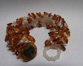 Amber, Crystal & Glass Beaded Bracelet