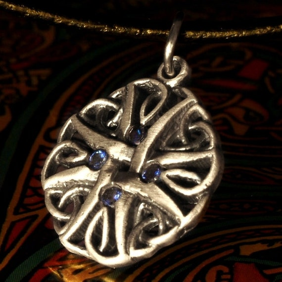 Celtic Sterling Silver Blue Sapphire Pendant Trinity Interweave Knot on Chain or Leather Cord CP-131B