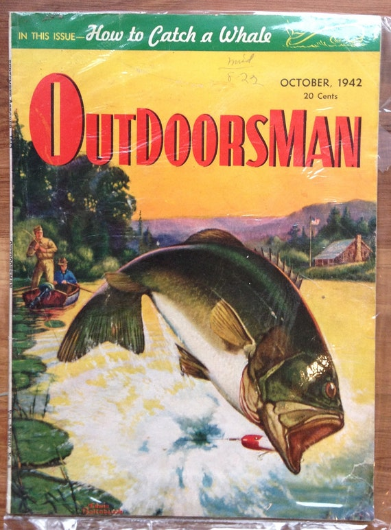 Vintage october 1942 outdoorsman magazine bass by for Bass fishing magazine