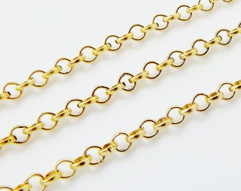 2.5mm Rolo Chain  - 22k Gold Plated - 1 Meter  or 3.3 Feet - GCHA105