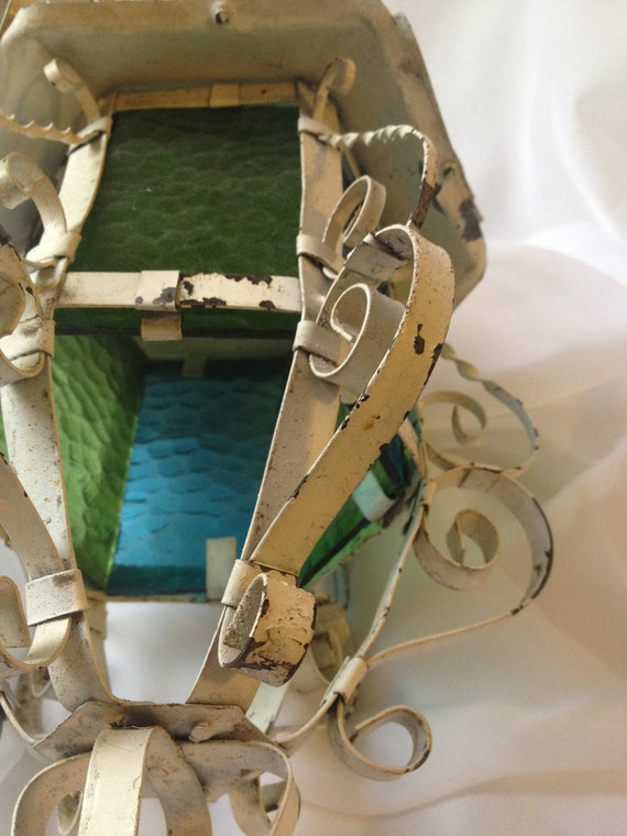 Garden Lanterns, Two Decorative Blue Green Retro Glass Panels, Chippy, Shabby, Country Cottage