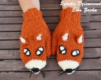 Crochet Fox Mittens Gloves in Red Orange - Warmers