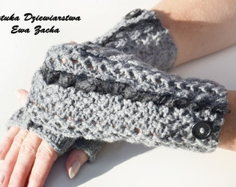 Grey Fingerless Mittens , fingerless gloves in handmade-warmers gloves with button and frill