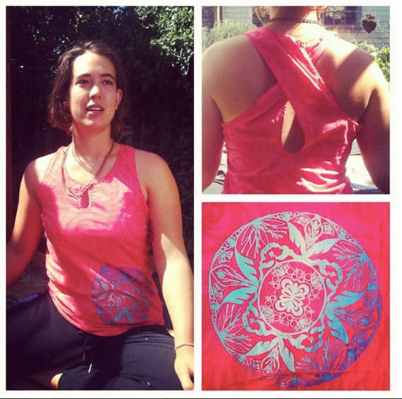 Upcycled Pink Volcom cross back Yoga/surf tank with hand printed sacred geometry mandala on front
