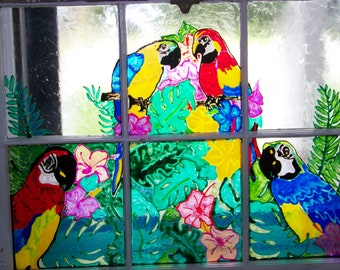 Old window with Tropical parrots