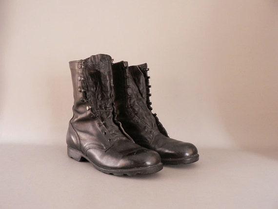 mens vintage black combat boots size 11 5 wide