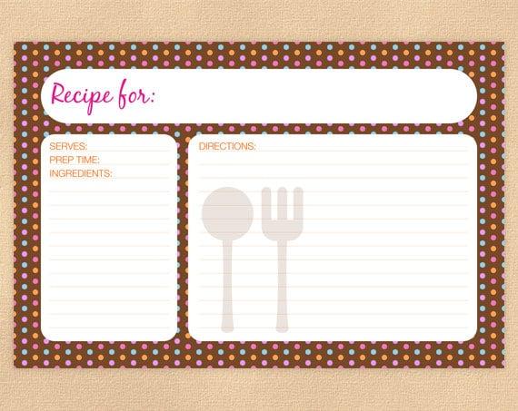 Items Similar To Printable Recipe Card