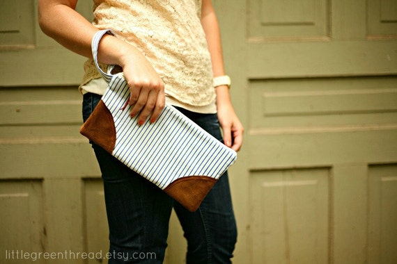 Navy & White Striped Wristlet Clutch w/ suede accents