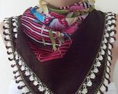 Pink, Brown, White  ,Gorgeous Turkish Traditional Yemeni-Oya,Floral Cotton Scarf Shawl Crochet