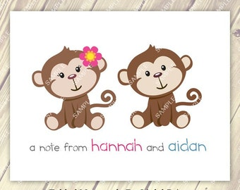 Cute Twin Sibling Boy and Girl Monkey Note Cards Set of 10 personalized flat or folded cards
