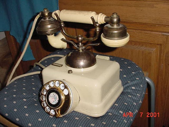 """Vintage FRENCH Cradle PHONE: Unique Antique Style """"MOVIE"""" Type, Well-Made, Unusual, Works, Hard To Find"""