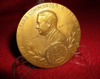 1914 Masonic Medal Grand Commandery of New York 100th Anniversary