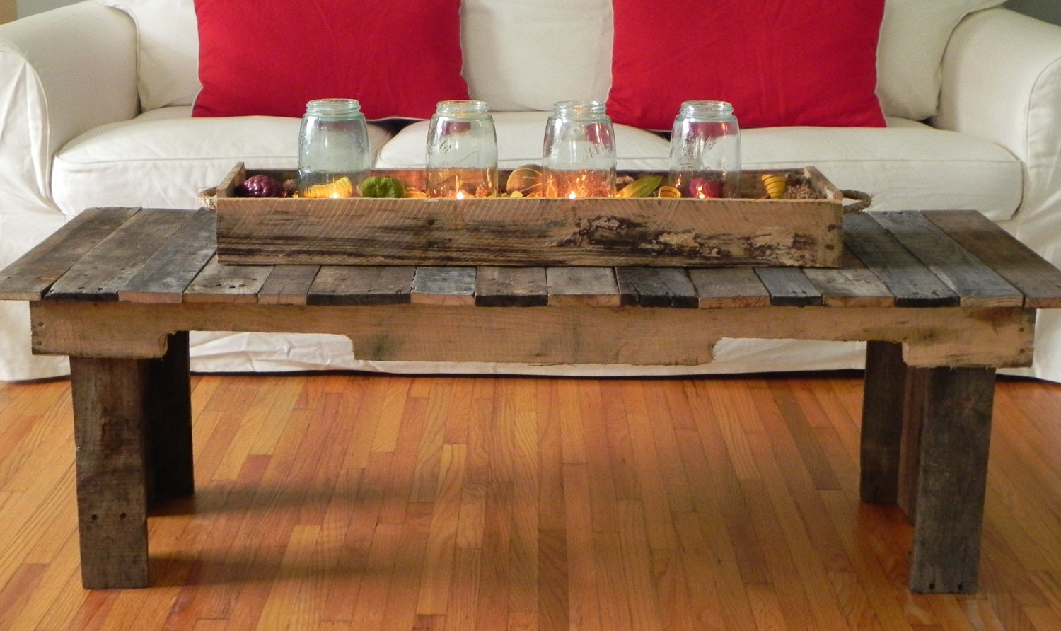 Pallet wood coffee table made to order by geckoshyde on etsy - Tables made from wood pallets ...