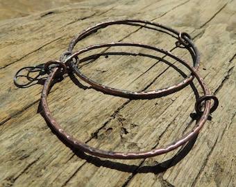 hop earrings, copper earrings, dangle earrings,  raw, simple hammer, rustic style