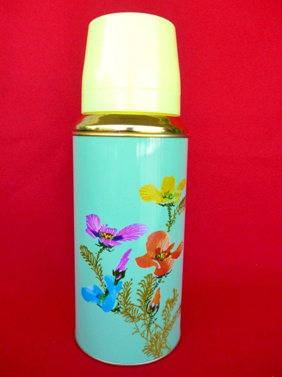 Vintage Thermos - Coffee Thermos - Cup Thermos - Flower Thermos - Picnic Thermos - Tea Thermos - Travel Thermos 20oz/0.62lt SUNFLOWER  Nr31