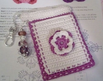 "Purple and White ""Bloomer"" Crochet Case with Beaded Keychain for iPhone, Smartphone, Camera, Cell Phone, MP3 Player"
