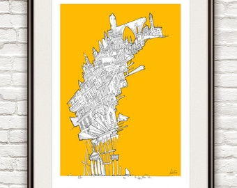 City I Poster Surrealism, Ink Drawing Architecture