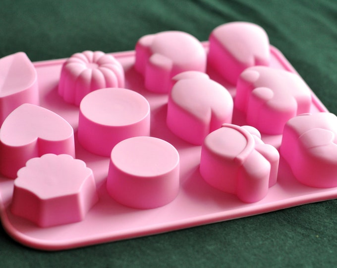 Silicone Silicon Soap Molds Candle Making Molds Candy Chocolate - 12 Cute Cavity