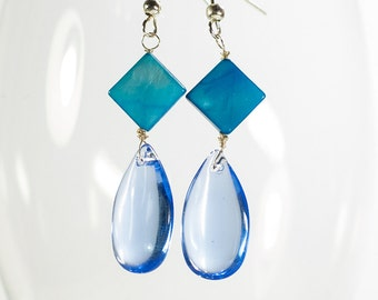 Rain Drop - Blue Drop Dangle Earrings