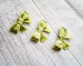 SALE 3 Lime green Mini sequin bows- DIY  crafts - Green bow headband supplies