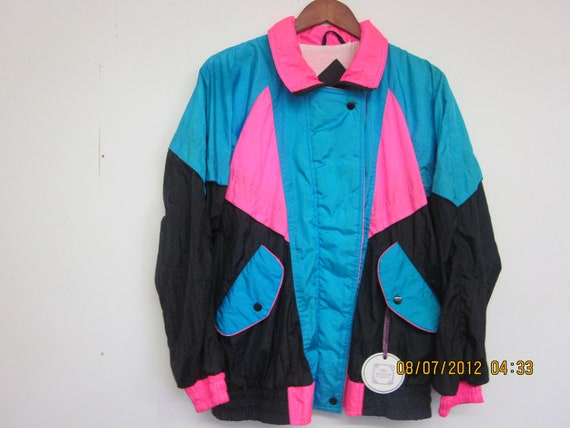 Vintage Windbreaker Parachute Jacket Colorful Neon Pink