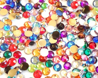 4mm 1000 pieces Round Flat Back 14 facet cut Rhinestones  ---- Assorted Colors