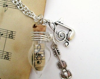 Violin necklace, tiny violin and clef charm glass vial necklace