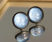 Glass cabochon earring post studs fake plugs with light blue pattern