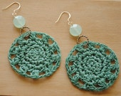 Hand-Crocheted Teal Earrings with Chalcedony